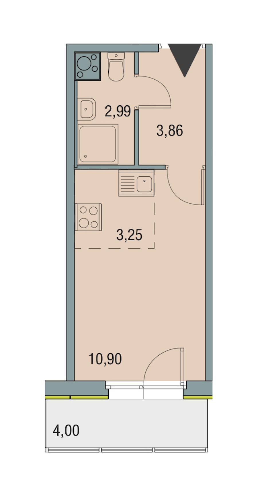 Студия 21 м<sup>2</sup> на 5 этаже