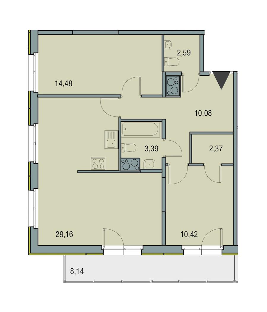 2-комнатная 72 м<sup>2</sup> на 25 этаже