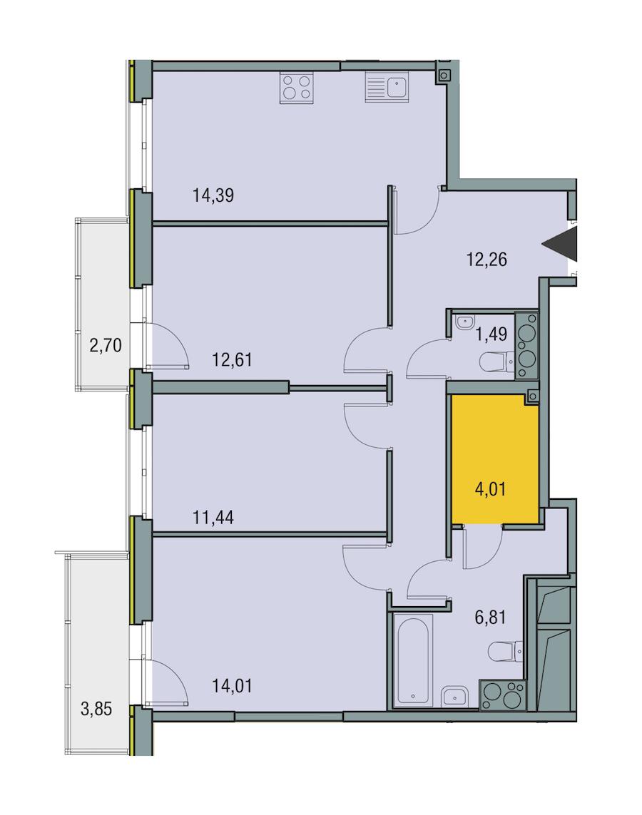 3-комнатная 77 м<sup>2</sup> на 25 этаже