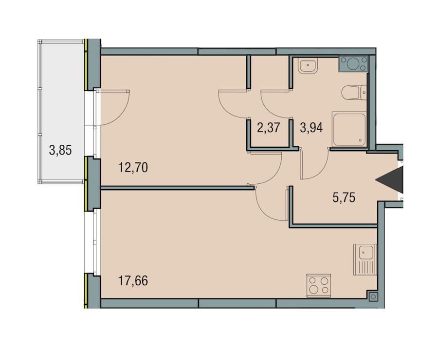 1-комнатная 42 м<sup>2</sup> на 13 этаже