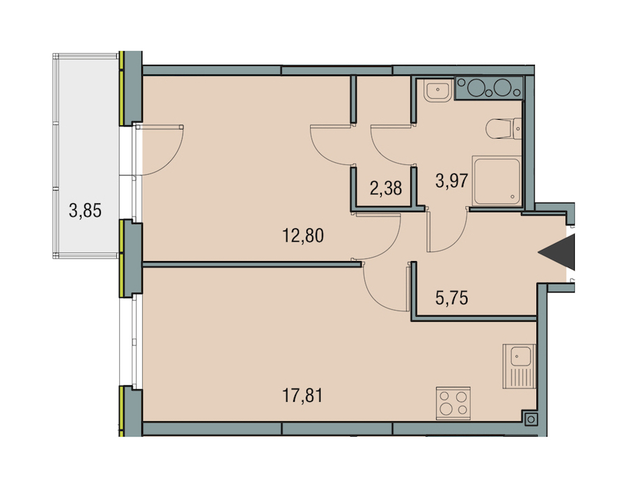 1-комнатная 42 м<sup>2</sup> на 15 этаже