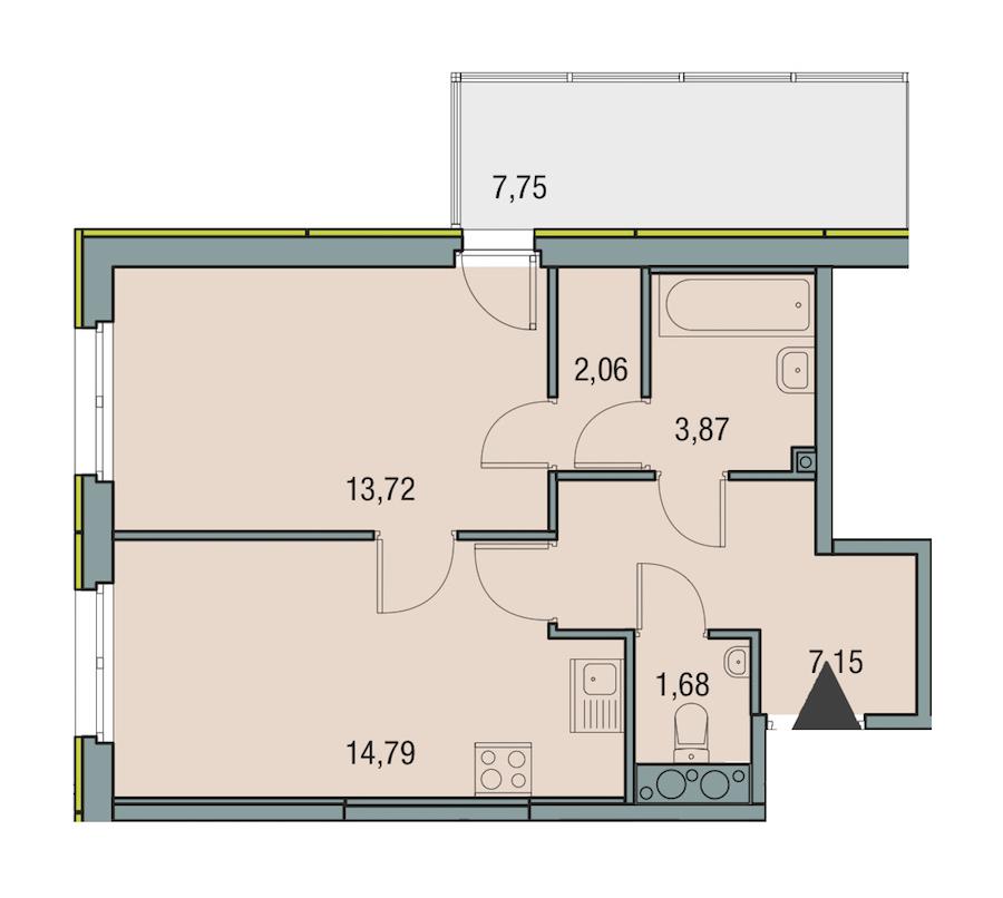 1-комнатная 43 м<sup>2</sup> на 15 этаже