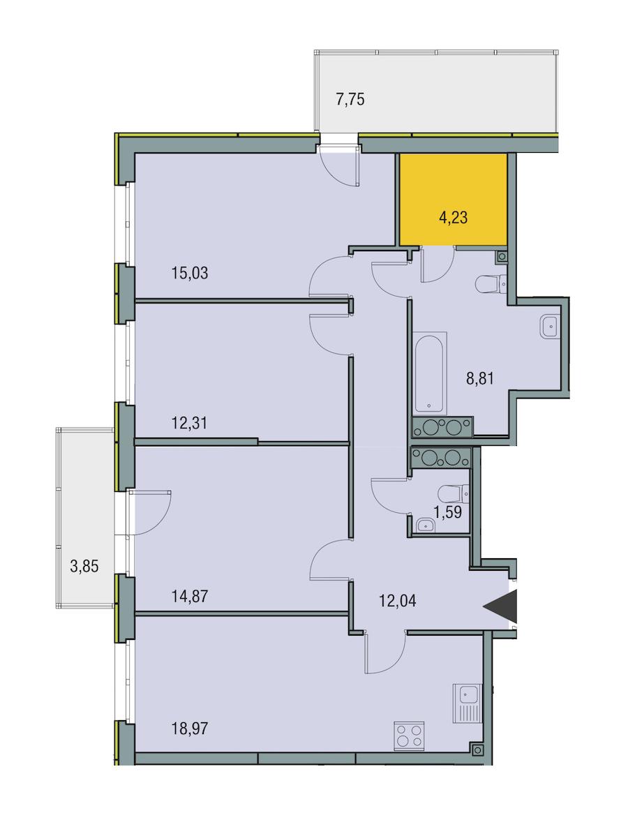 3-комнатная 87 м<sup>2</sup> на 23 этаже