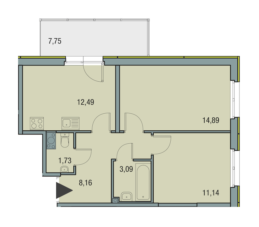 2-комнатная 51 м<sup>2</sup> на 13 этаже