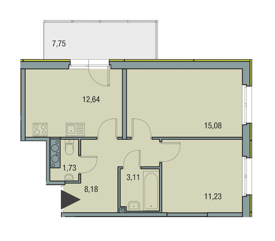 2-комнатная 51 м<sup>2</sup> на 23 этаже