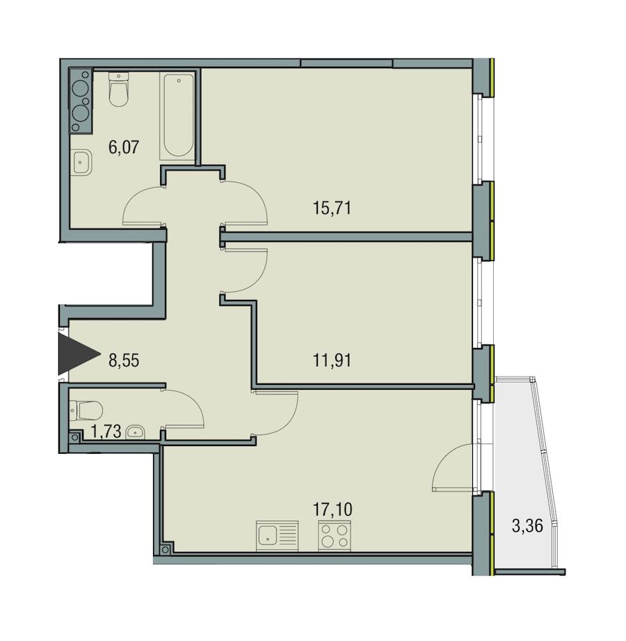 2-комнатная 61 м<sup>2</sup> на 15 этаже