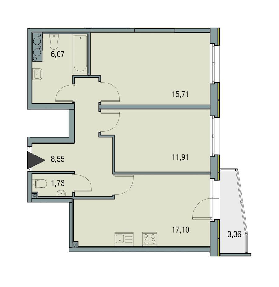 2-комнатная 61 м<sup>2</sup> на 23 этаже