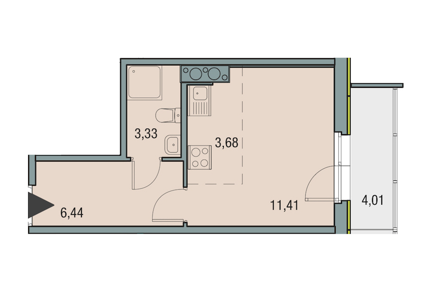 Студия 24 м<sup>2</sup> на 23 этаже