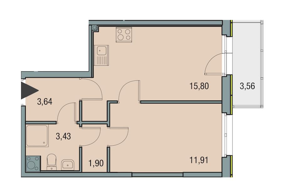 1-комнатная 36 м<sup>2</sup> на 13 этаже