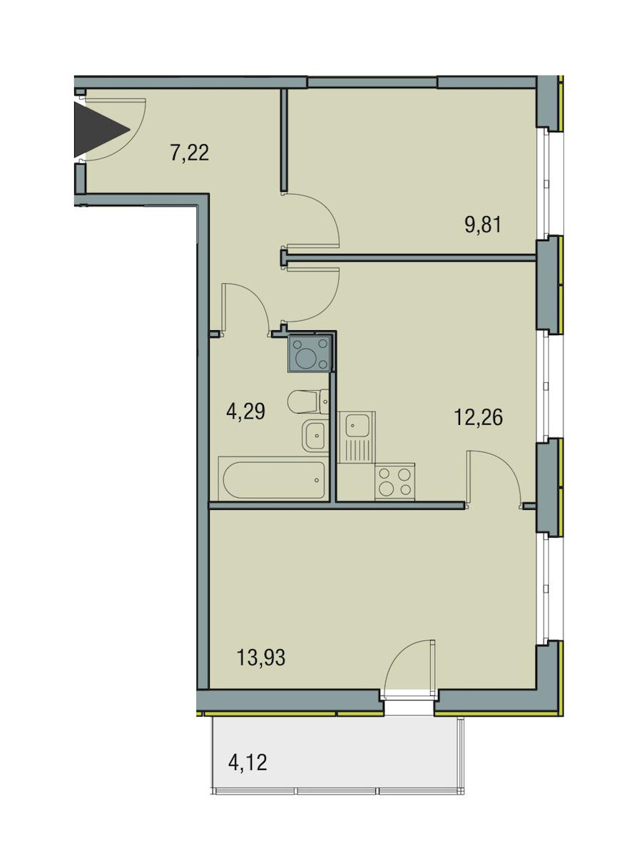 2-комнатная 47 м<sup>2</sup> на 13 этаже