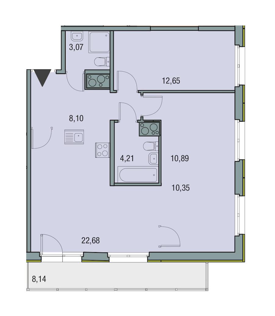 3-комнатная 71 м<sup>2</sup> на 15 этаже