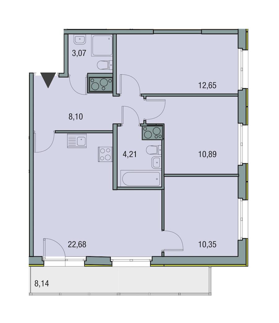 3-комнатная 71 м<sup>2</sup> на 23 этаже