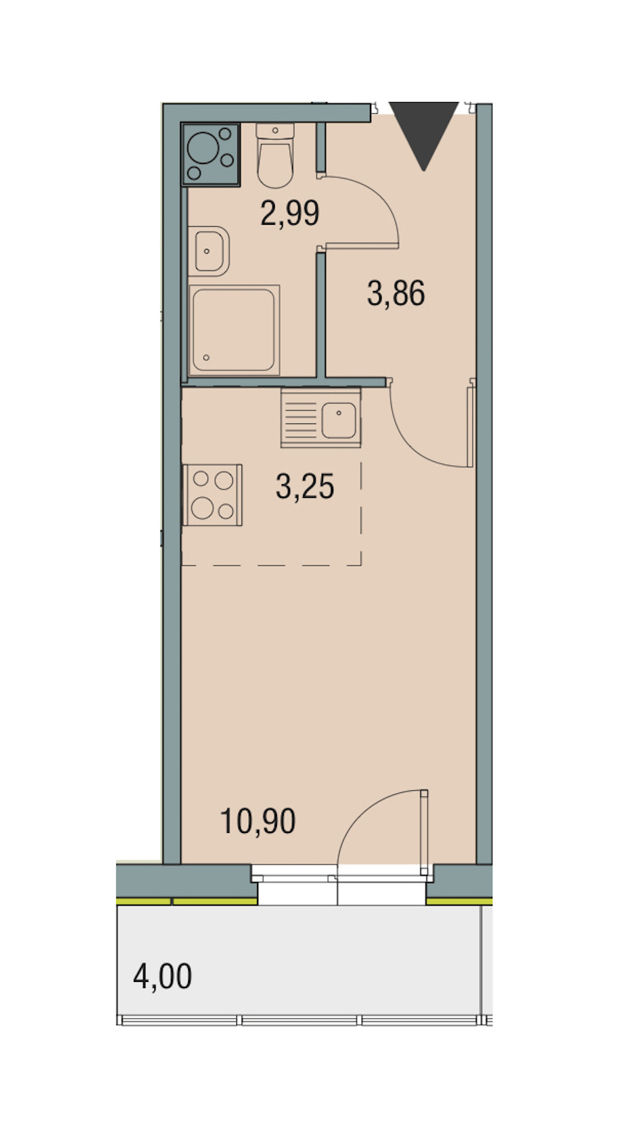 Студия 21 м<sup>2</sup> на 6 этаже