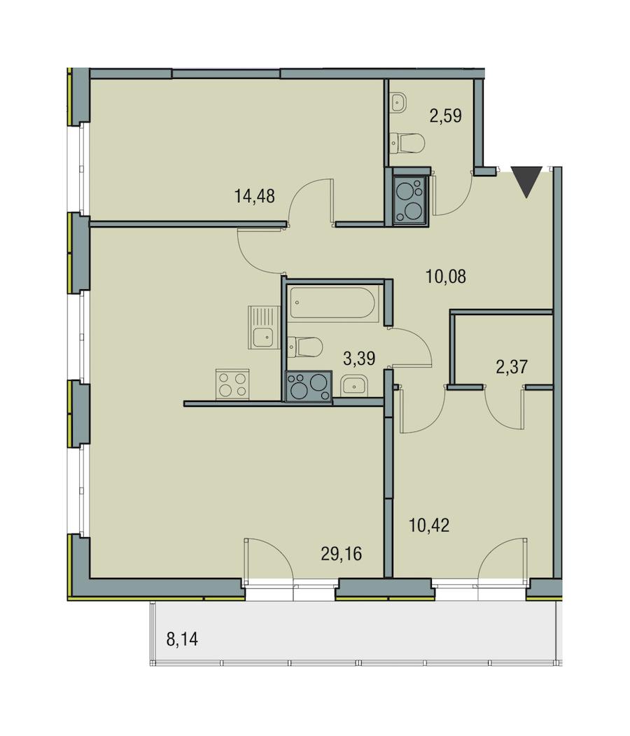 2-комнатная 72 м<sup>2</sup> на 15 этаже