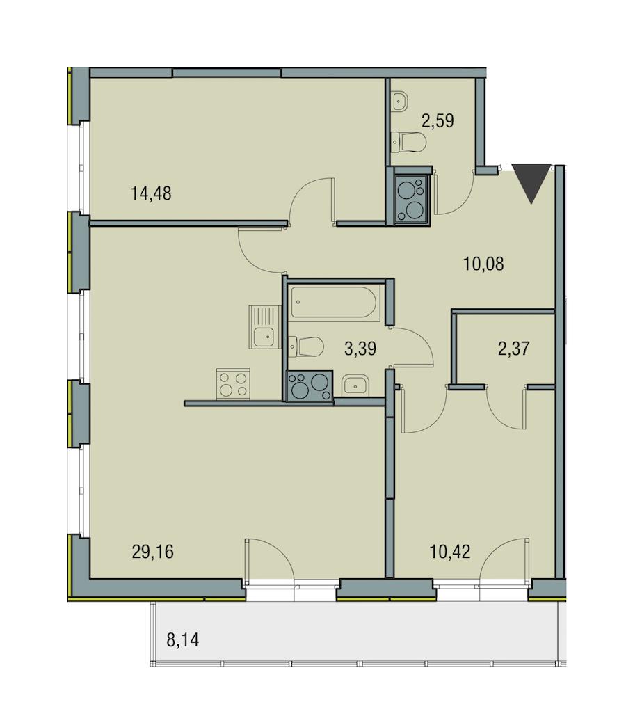 2-комнатная 72 м<sup>2</sup> на 23 этаже