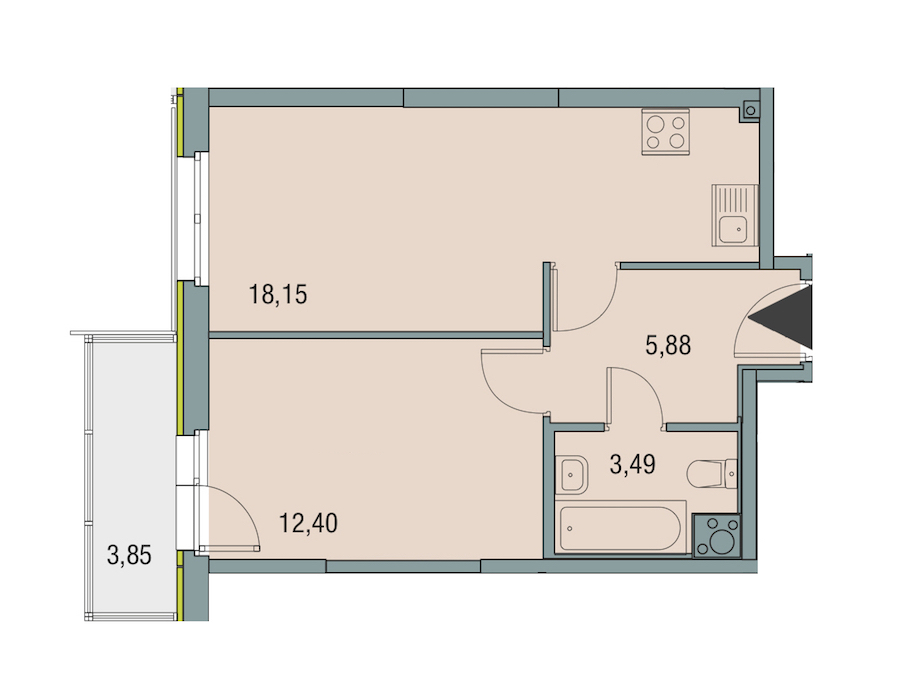 1-комнатная 39 м<sup>2</sup> на 6 этаже