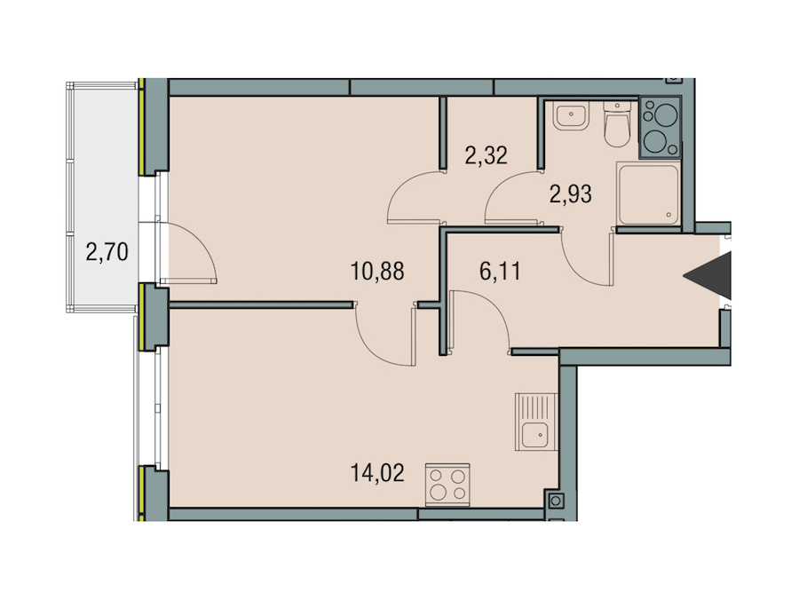 1-комнатная 36 м<sup>2</sup> на 15 этаже