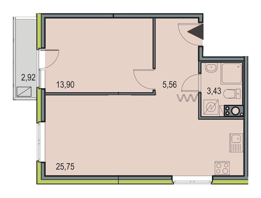 1-комнатная 48 м<sup>2</sup> на 7 этаже
