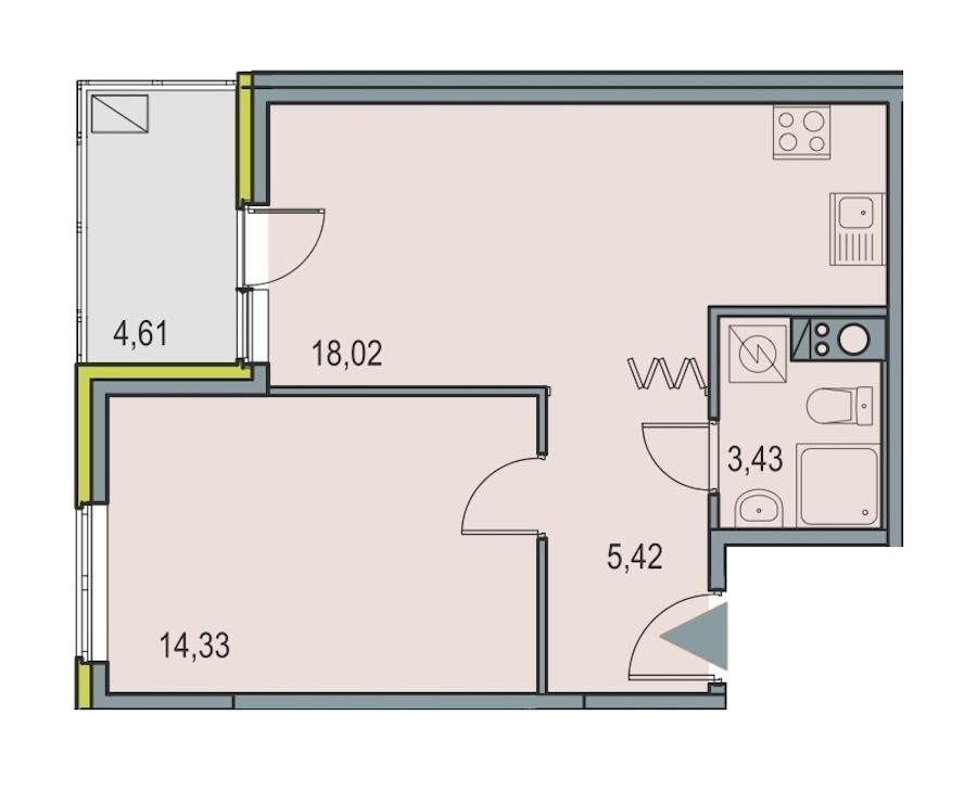 1-комнатная 41 м<sup>2</sup> на 7 этаже