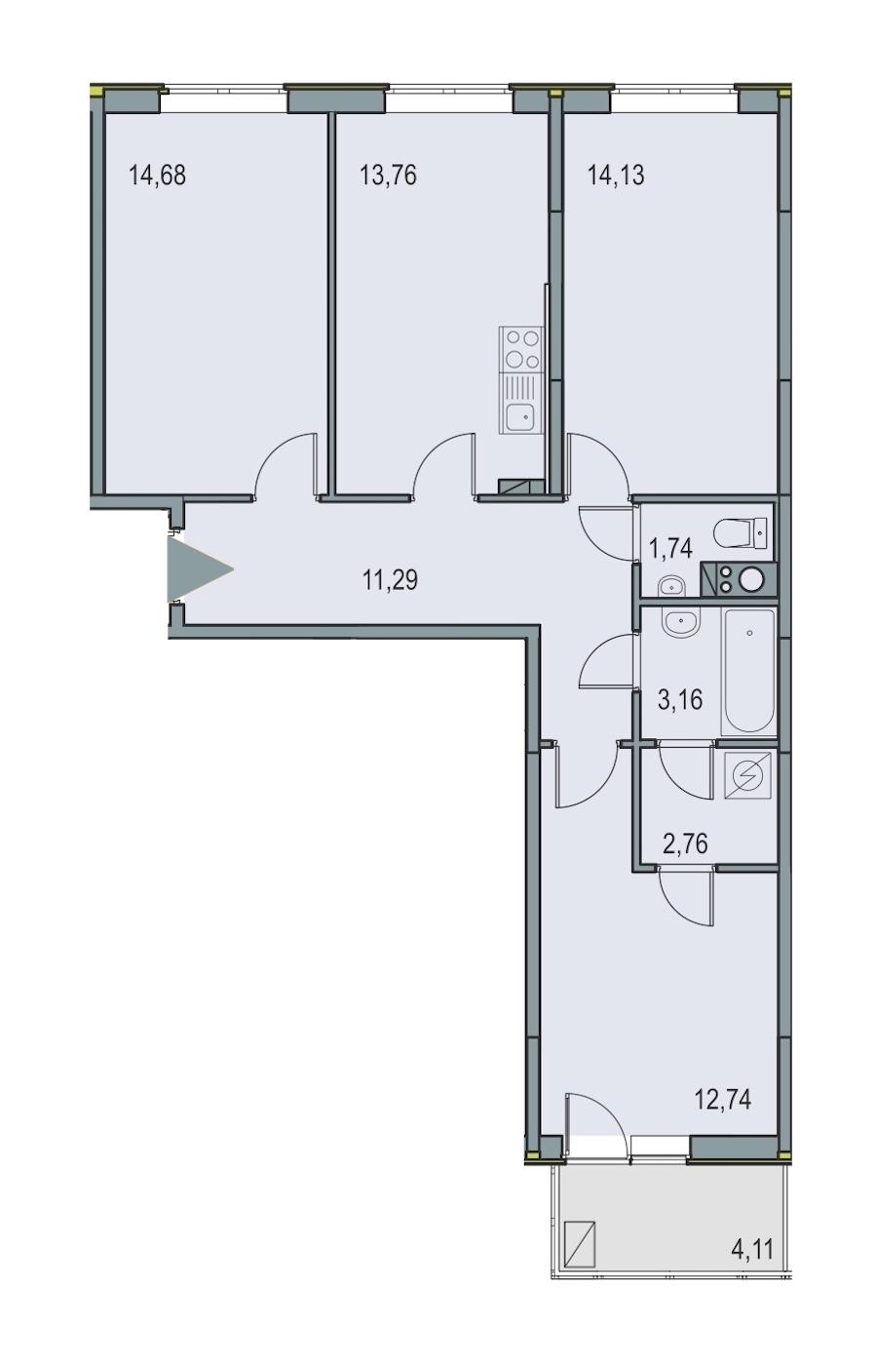 3-комнатная 74 м<sup>2</sup> на 5 этаже
