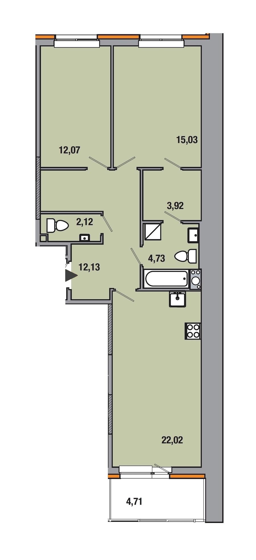 2-комнатная 72 м<sup>2</sup> на 6 этаже