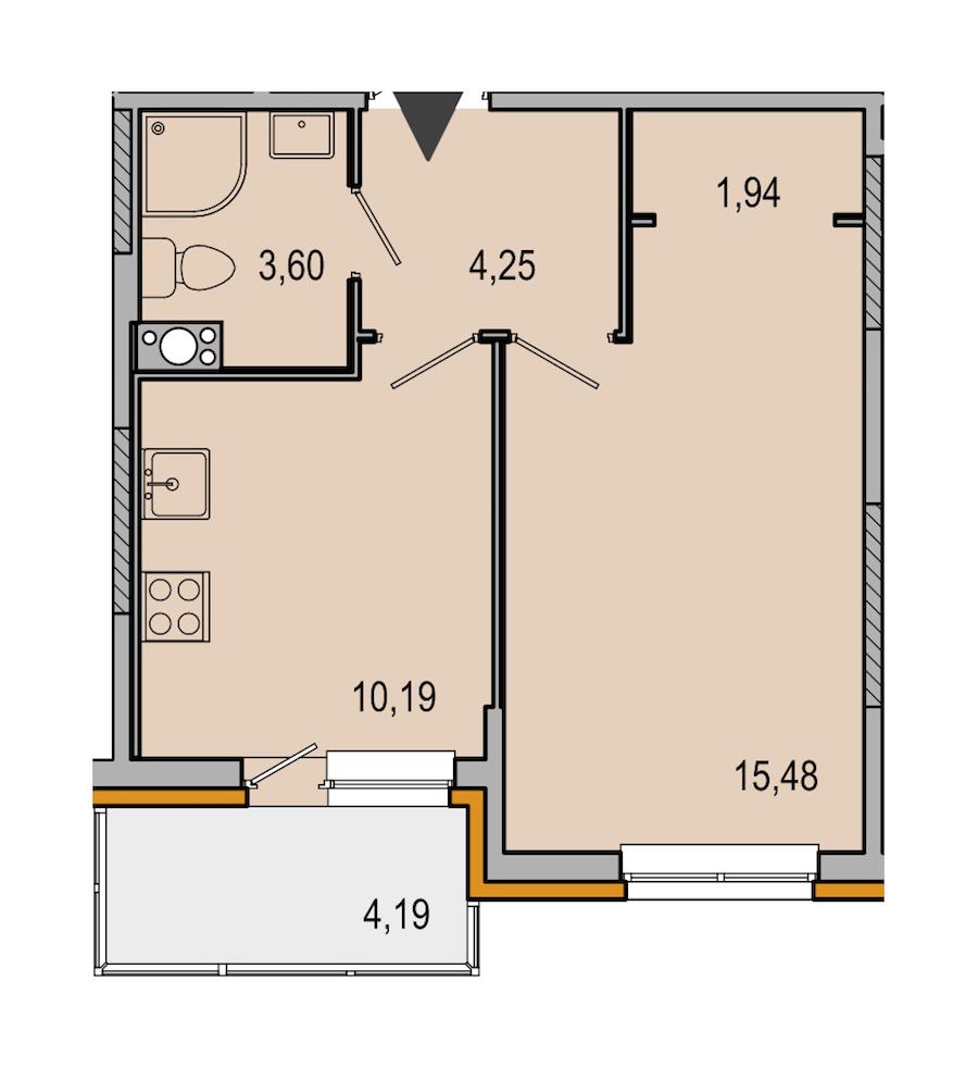1-комнатная 35 м<sup>2</sup> на 3 этаже