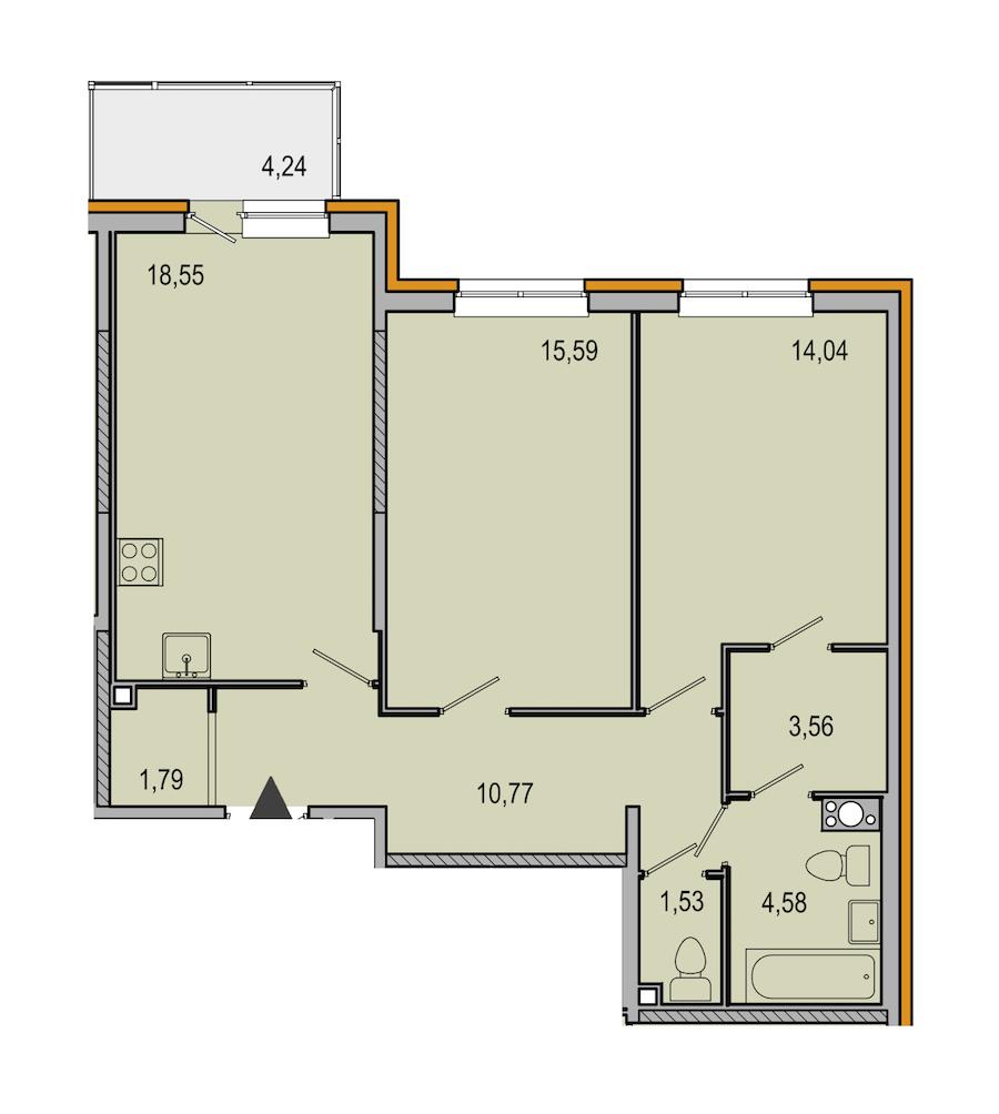 2-комнатная 70 м<sup>2</sup> на 10 этаже