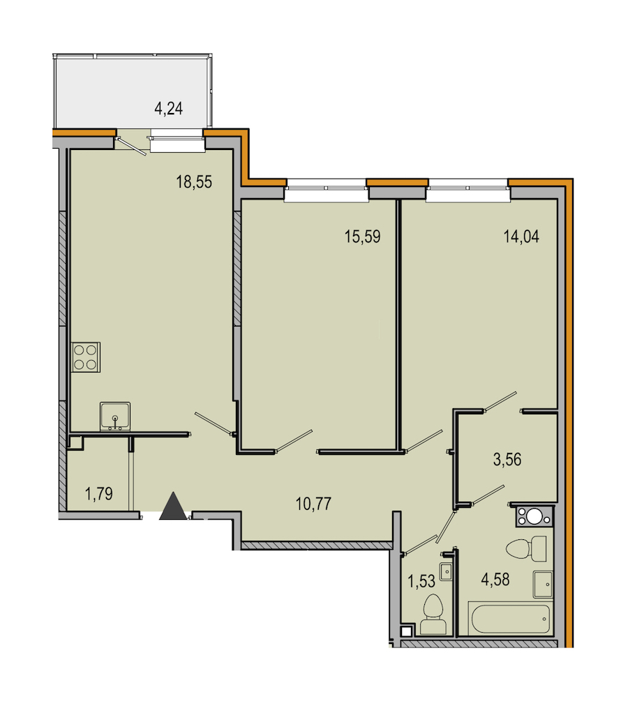 2-комнатная 70 м<sup>2</sup> на 3 этаже