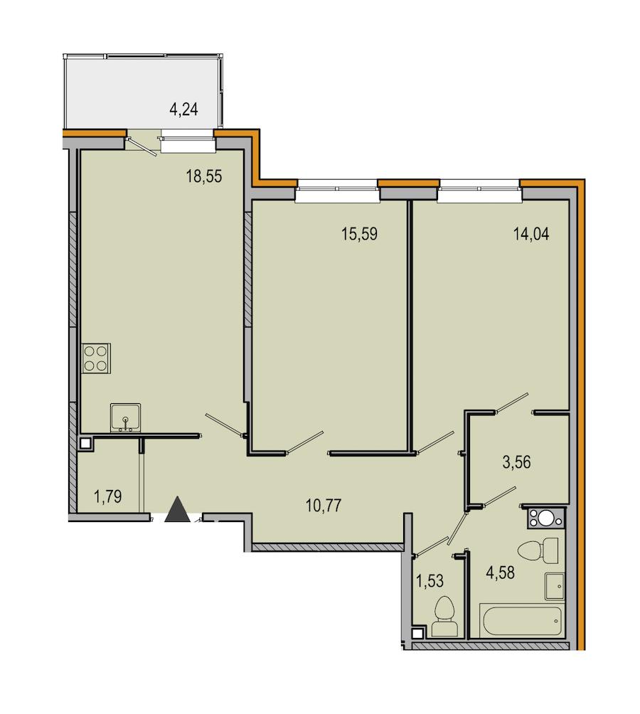 2-комнатная 70 м<sup>2</sup> на 6 этаже