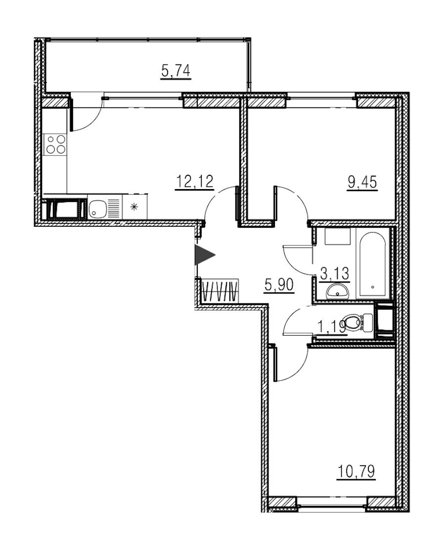 2-комнатная 42 м<sup>2</sup> на 18 этаже