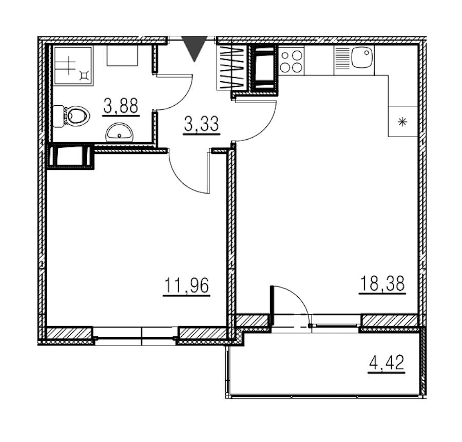 1-комнатная 37 м<sup>2</sup> на 18 этаже