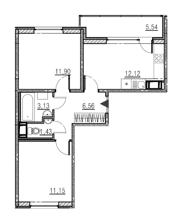 2-комнатная 46 м<sup>2</sup> на 18 этаже