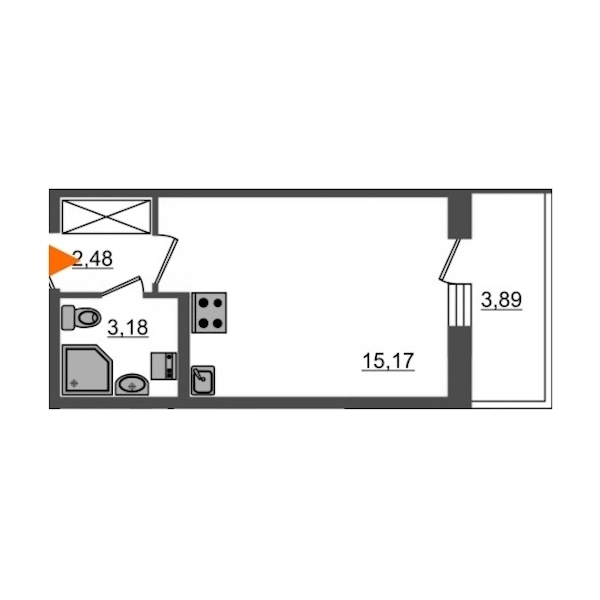 Студия 20 м<sup>2</sup> на 1 этаже
