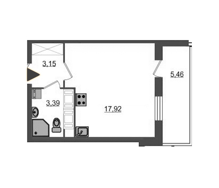 Студия 24 м<sup>2</sup> на 22 этаже