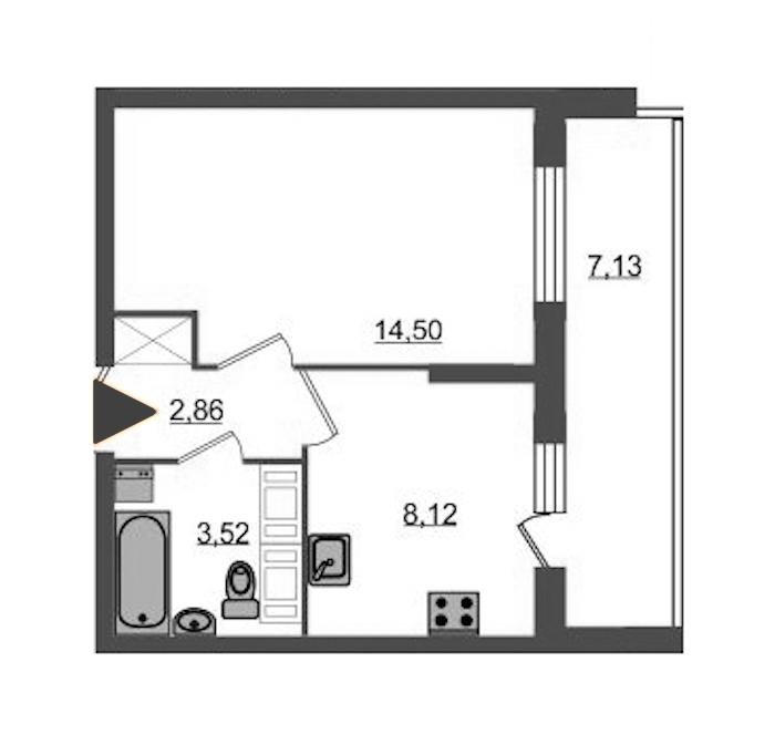 1-комнатная 29 м<sup>2</sup> на 16 этаже