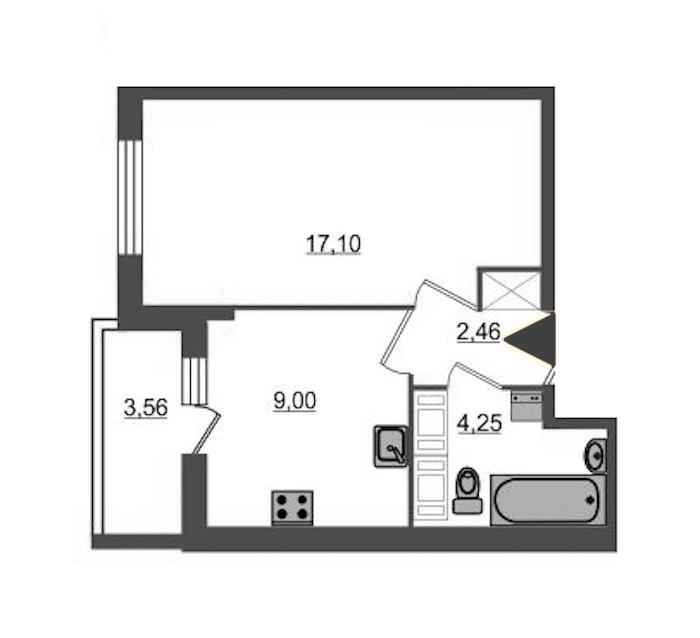 1-комнатная 32 м<sup>2</sup> на 14 этаже