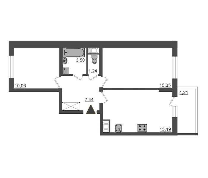 2-комнатная 52 м<sup>2</sup> на 24 этаже
