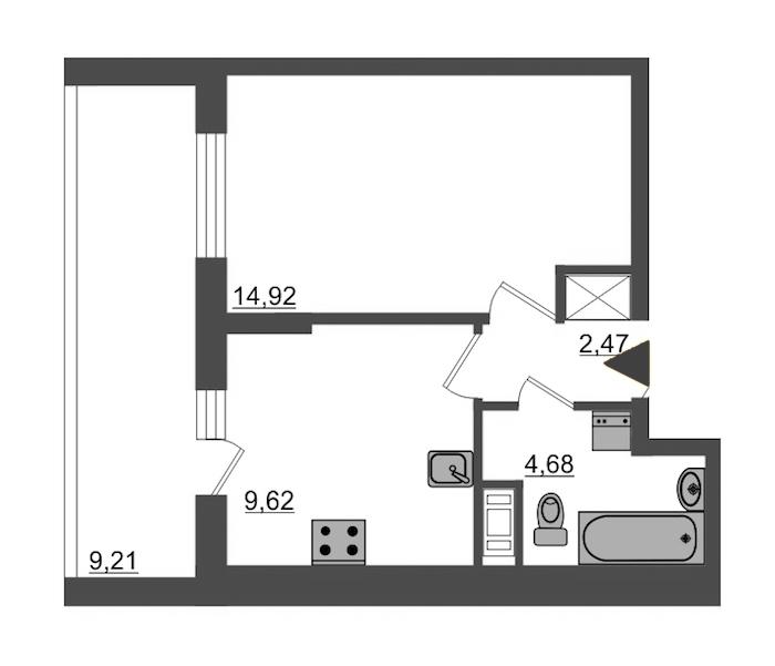 1-комнатная 30 м<sup>2</sup> на 8 этаже