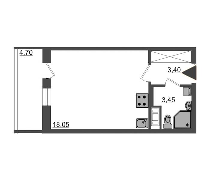Студия 24 м<sup>2</sup> на 13 этаже