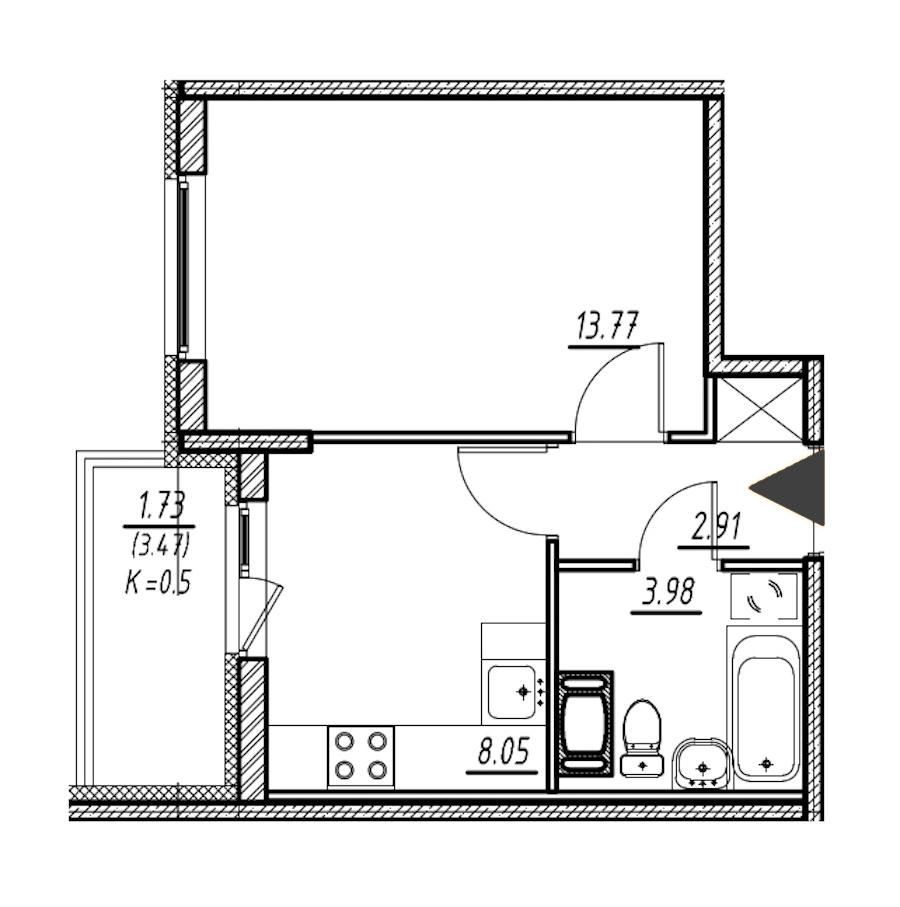 1-комнатная 28 м<sup>2</sup> на 11 этаже