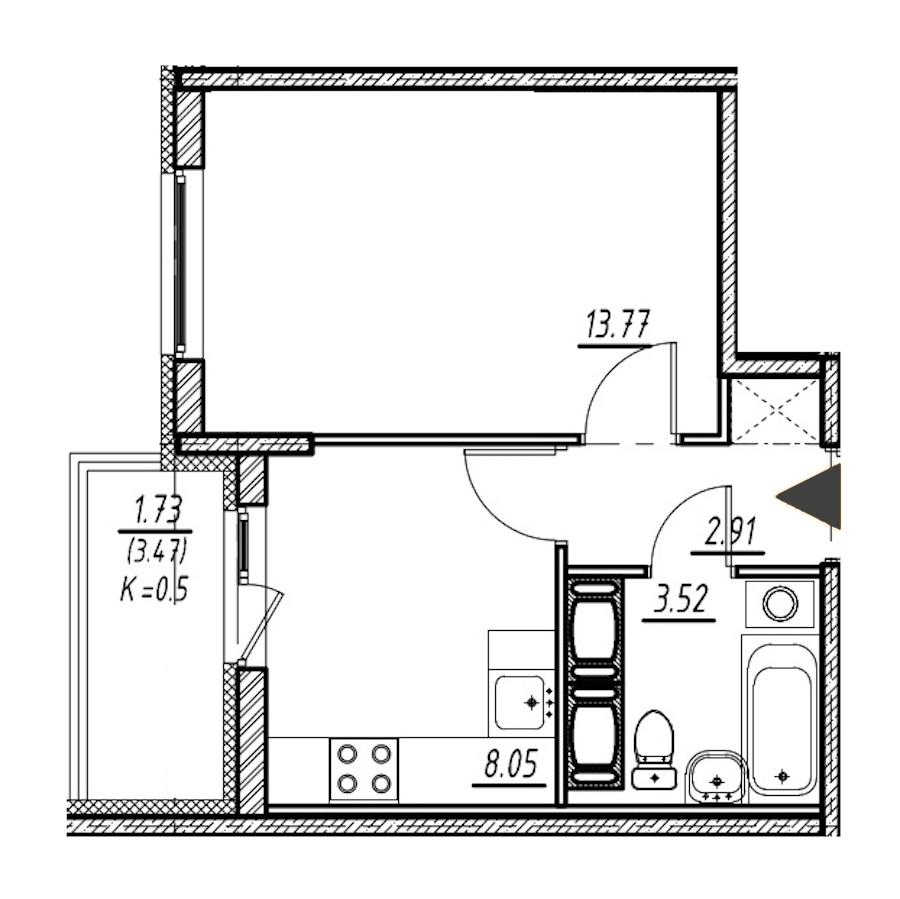 1-комнатная 28 м<sup>2</sup> на 19 этаже
