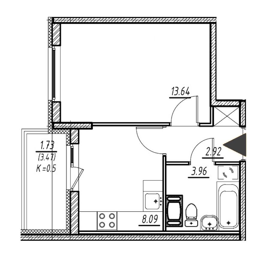 1-комнатная 28 м<sup>2</sup> на 8 этаже