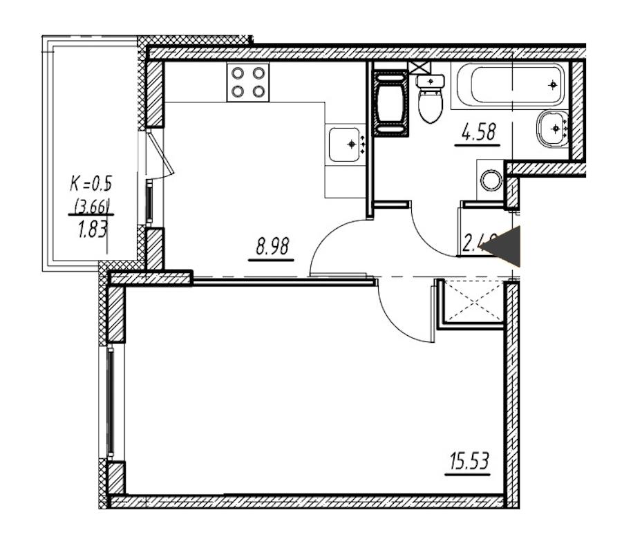 1-комнатная 31 м<sup>2</sup> на 4 этаже