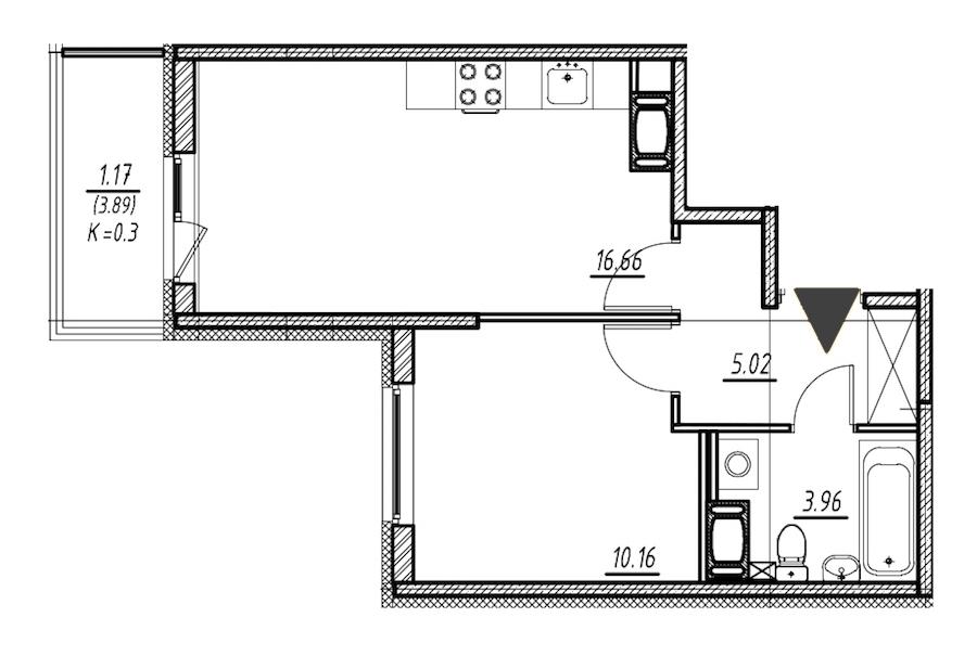 1-комнатная 35 м<sup>2</sup> на 12 этаже