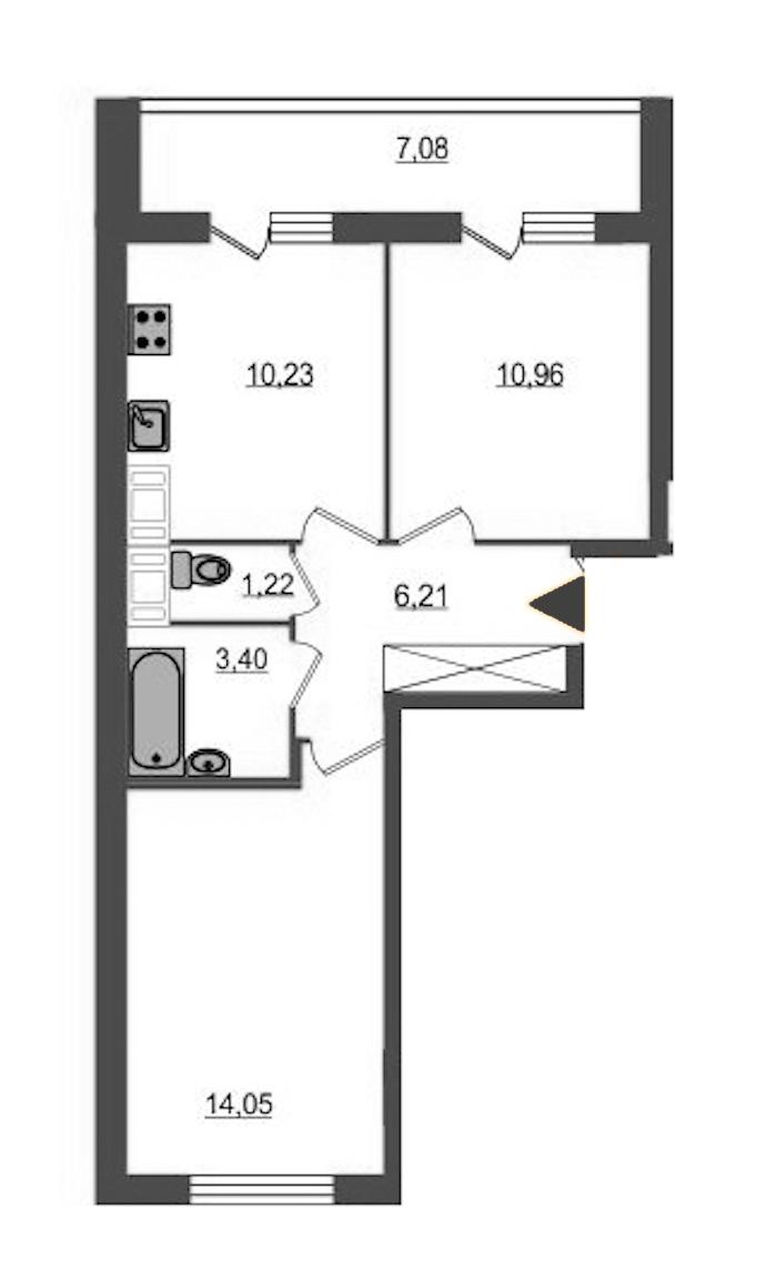 2-комнатная 46 м<sup>2</sup> на 24 этаже