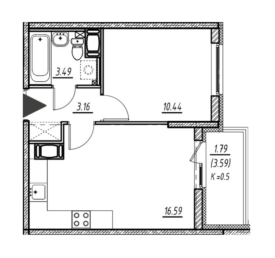 1-комнатная 33 м<sup>2</sup> на 5 этаже