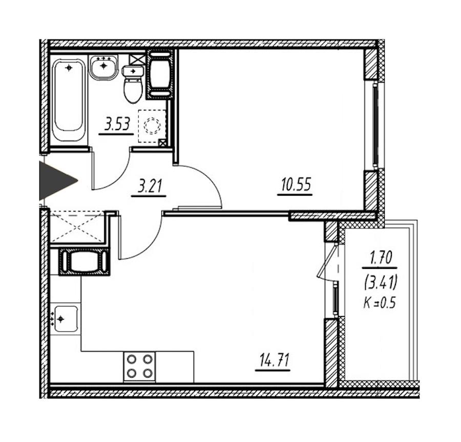 1-комнатная 32 м<sup>2</sup> на 24 этаже