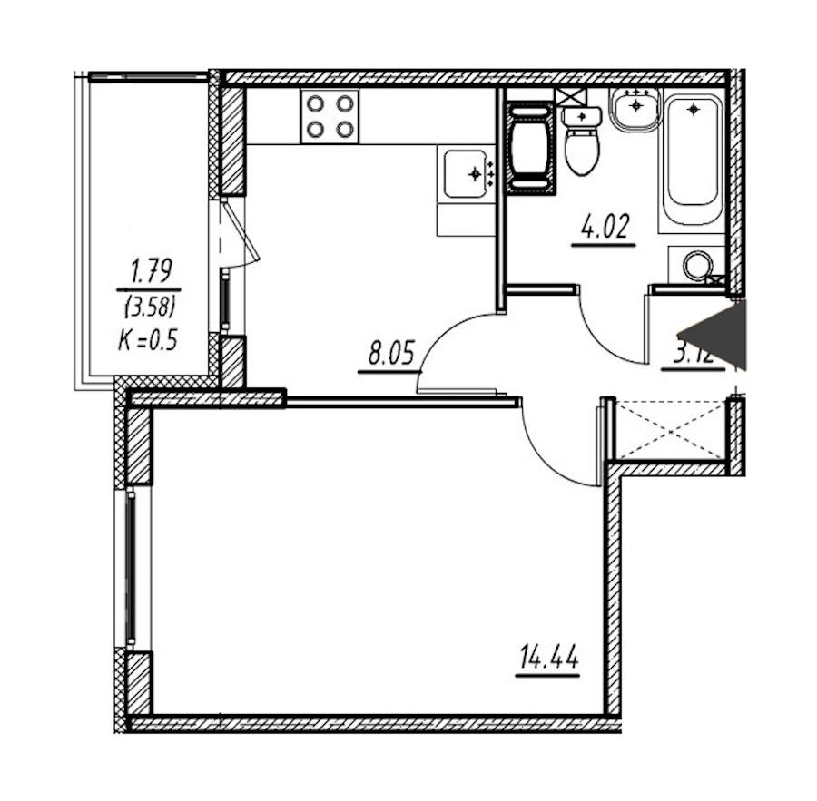 1-комнатная 29 м<sup>2</sup> на 13 этаже