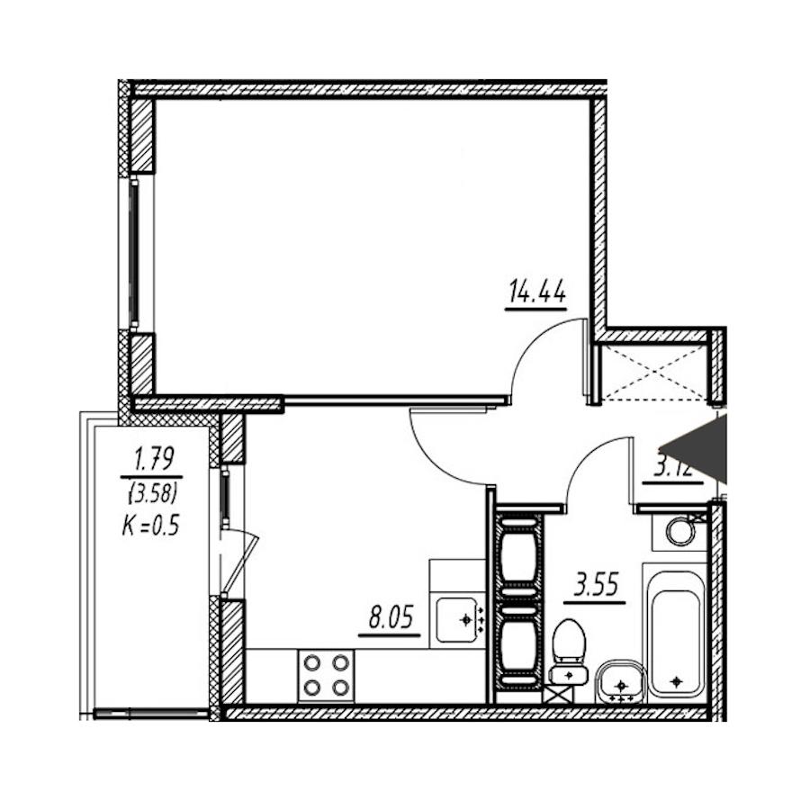 1-комнатная 29 м<sup>2</sup> на 17 этаже
