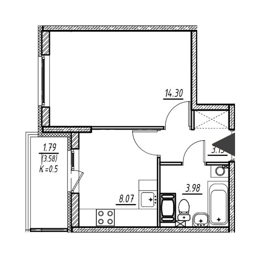 1-комнатная 29 м<sup>2</sup> на 3 этаже